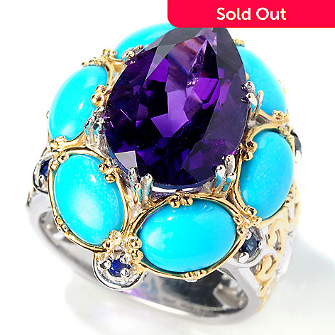 114-457 - Gems en Vogue Amethyst, Sleeping Beauty Turquoise & Sapphire Ring
