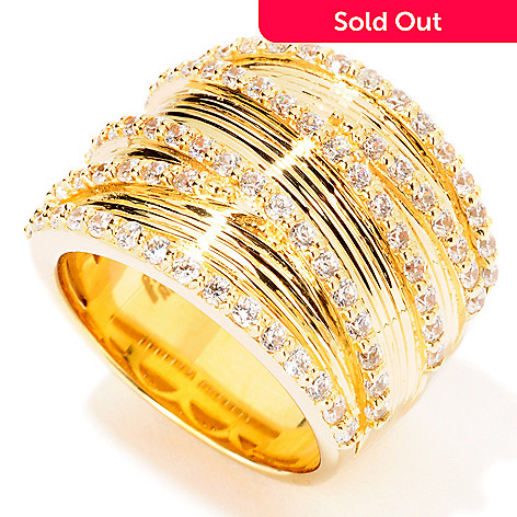 114-505 - Sonia Bitton Gold Embraced 1.17 DEW Simulated Diamond Criss Cross Ring