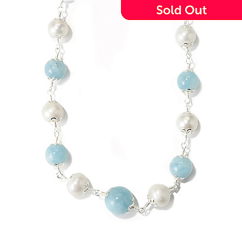 114-508 - Sterling Silver 21'' Cultured Freshwater Pearl & Aquamarine Necklace