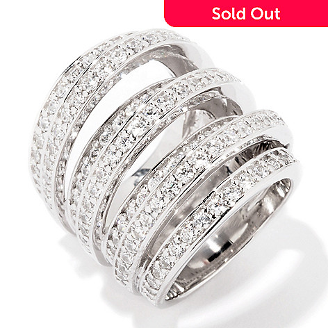 114-511 - Sonia Bitton 4.71 DEW Simulated Diamond Tri-Level Bold Dome Ring