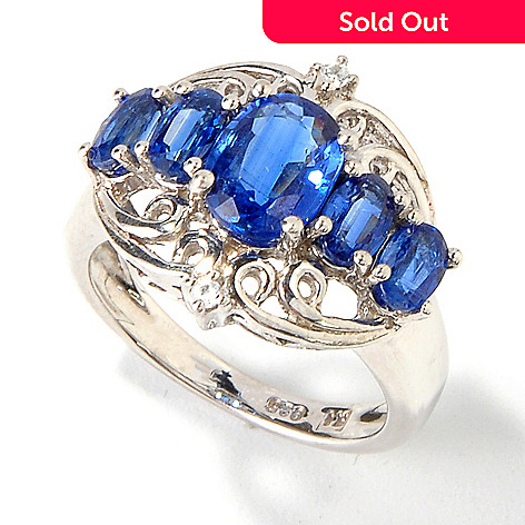 114-551 - Gem Insider Sterling Silver 3.01ctw Kyanite & White Zircon Scrollwork Ring