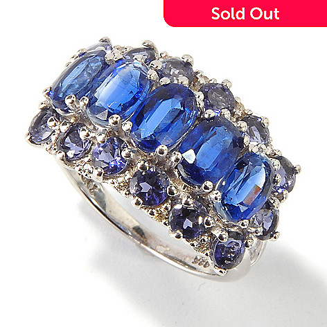 114-552 - Gem Insider Sterling Silver 4.79ctw Kyanite & Iolite Three Row Ring