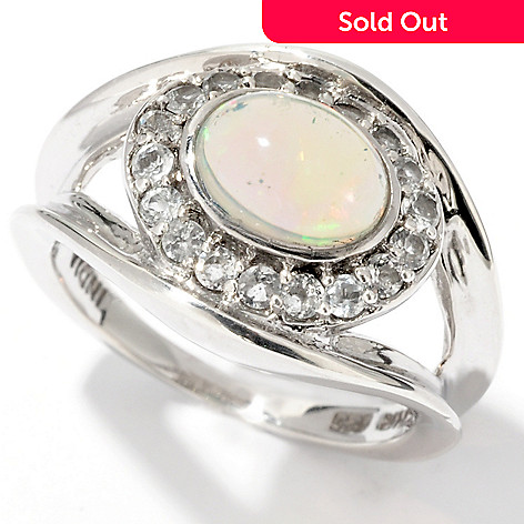 114-558 - Gem Insider™ Sterling Silver 8x6mm Ethiopian Opal & White Topaz Ring