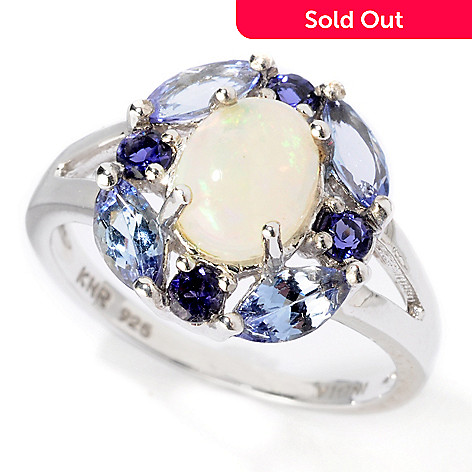 114-559 - Gem Insider Sterling Silver Ethiopian Opal Cabochon & Gemstone Choice Ring