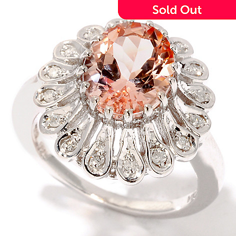 114-563 - Gem Insider™ Sterling Silver 2.13ctw Oval Morganite & Diamond Ring
