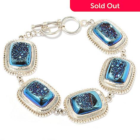 114-576 - Gem Insider Sterling Silver 7.25'' Drusy Link Bracelet