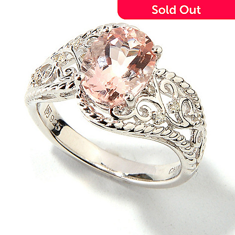 114-611 - Gem Insider™ Sterling Silver 1.29ctw Oval Morganite & Diamond Ring