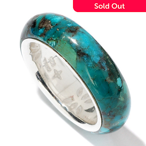 114-640 - Gem Insider™ Sterling Silver 25x25mm Campitos Turquoise Band Ring