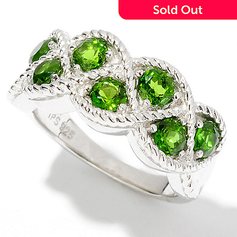 114-652 - Gem Insider™ Sterling Silver 1.43ctw Round Chrome Diopside Braid Ring