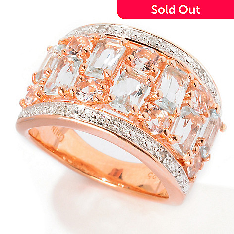 114-726 - NYC II 1.92ctw Baguette Aquamarine, Morganite & Diamond Ring