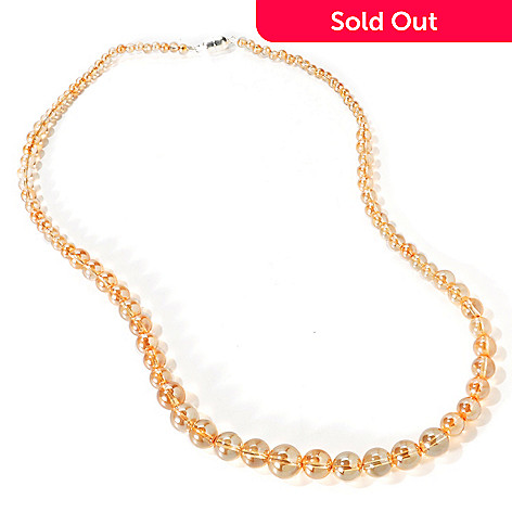 114-764 - Gem Treasures Sterling Silver 24'' Crystal Quartz Graduated Bead Necklace