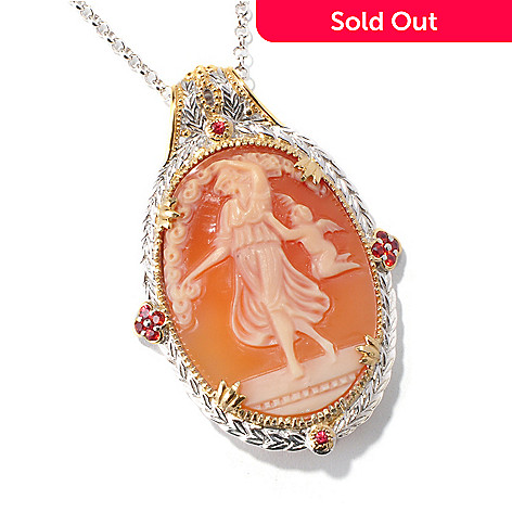 114-838 - Gems en Vogue 35 x 27mm  Italian Hand-Carved Angel & Cherub Shell Cameo Pendant