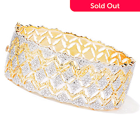 114-885 - Jaipur Jewelry Bazaar™ Gold Embraced™ 7.25'' Diamond Accent Hinged Bangle Bracelet