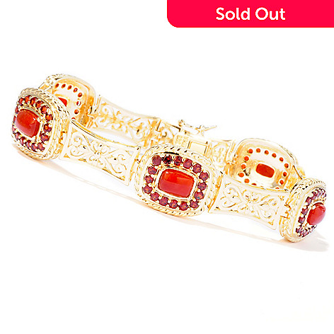 114-886 - Jaipur Bazaar Gold Embraced[ 7.25'' Red Jade & Garnet Bracelet