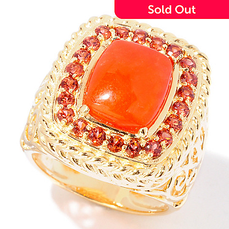 114-887 - Jaipur Bazaar Gold Embraced™ Red Jade & Garnet Ring