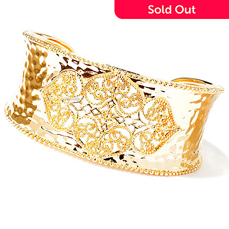 114-892 - Jaipur Bazaar Gold Embraced™ 7'' Hammered Ornate Cuff Bracelet