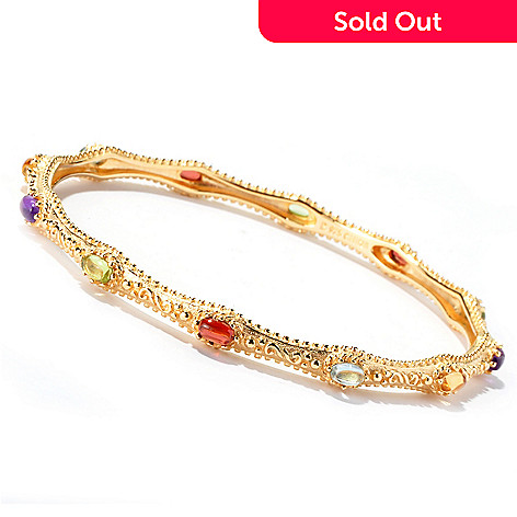 114-893 - Jaipur Jewelry Bazaar™ Gold Embraced™ 8'' Multi Gem Cabochon Slip-on Bangle Bracelet