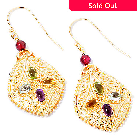 114-894 - Jaipur Bazaar Gold Embraced™ Multi-Gem Cabochon Earrings