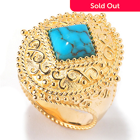 114-895 - Jaipur Bazaar Gold Embraced™ 8mm Square Stabilized Turquoise Ring
