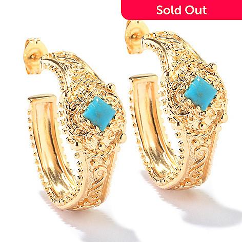 114-896 - Jaipur Bazaar Gold Embraced™ Stabilized Turquoise Hoop Earrings