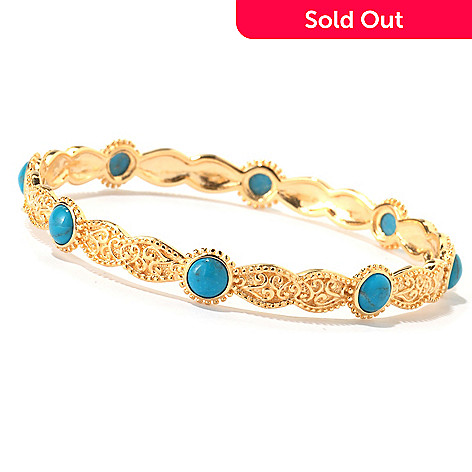 114-897 - Jaipur Bazaar Gold Embraced™ 8'' Stabilized Turquoise Bangle