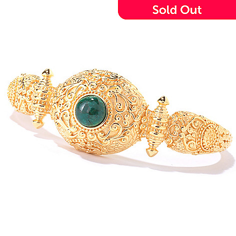 114-898 - Jaipur Jewelry Bazaar™ Gold Embraced™ 7'' Opaque Emerald Cuff Bracelet