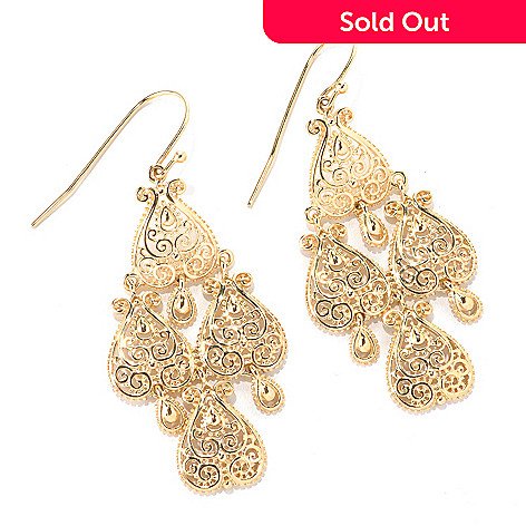 114-902 - Jaipur Bazaar Gold Embraced™ 2'' Ornate Chandelier Earrings