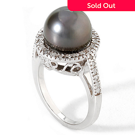114-966 - 14K Gold .34ctw 11-12mm Tahitian Cultured Pearl & Diamond Ring