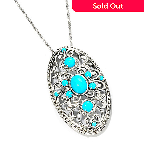 114-978 - Gem Insider™ Sterling Silver Sleeping Beauty Turquoise Pendant w/ Chain