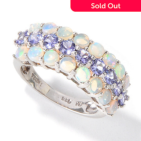 115-079 - Gem Insider™ Sterling Silver 3mm Opal & Tanzanite Three-Row Ring