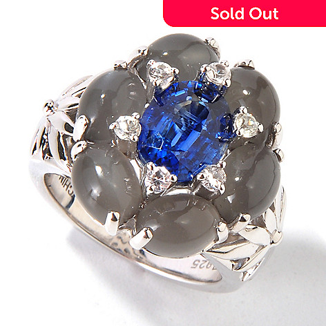 115-080 - Gem Insider Sterling Silver Oval Moonstone, Kyanite & Sapphire Ring