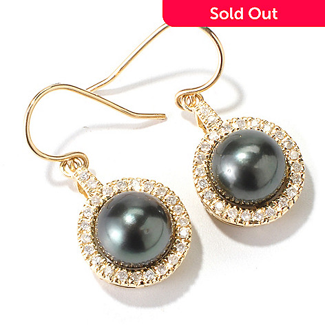 115-118 - 14K Gold 10-11mm .34ctw Tahitian Cultured Pearl & Diamond Earrings
