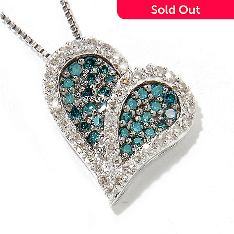 115-123 - Diamond Treasures® Sterling Silver 0.50ctw Multi Color Diamond Heart Pendant w/ Chain