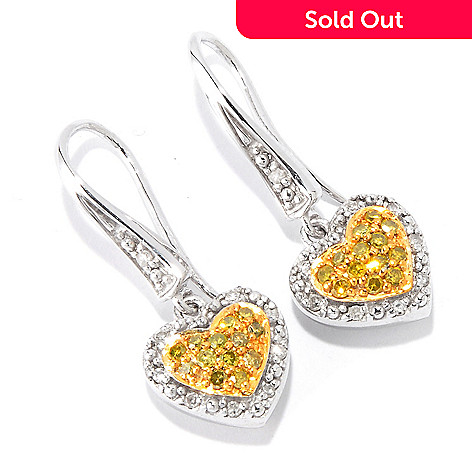 115-127 - Diamond Treasures Sterling Silver 0.35ctw Multi Color Diamond Heart Earrings
