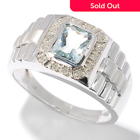 115-172 - Sterling Silver / Platinum Emerald Cut Aquamarine & Diamond Men's Ring