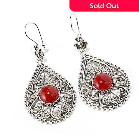 115-304 - Telkari Turkish Sterling Silver 10mm Carnelian Filigree Detailed Teardrop Earrings