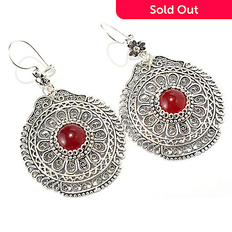 115-308 - Telkari Turkish Sterling Silver Round & Faceted Dyed Gemstone Filigree Earring
