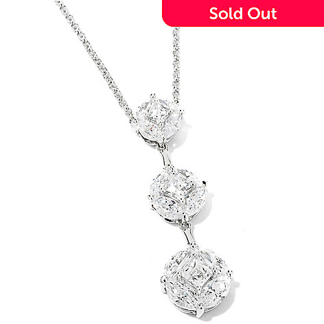 115-436 - TYCOON Platinum Embraced™ 3.66 DEW Simulated Diamond Drop Pendant w/ Chain