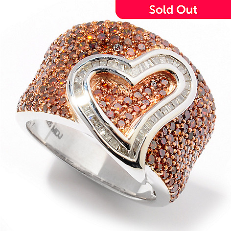 115-452 - Diamond Treasures Sterling Silver 1.50ct Red & White Diamond Heart Ring