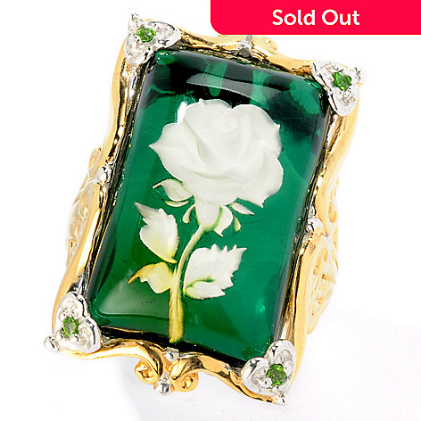 115-486 - Gems en Vogue II Carved Amber & Chrome Diopside Flower Ring