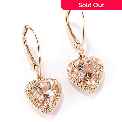 115-607 - 14K Rose Gold Morganite & Diamond Accent Heart Earrings