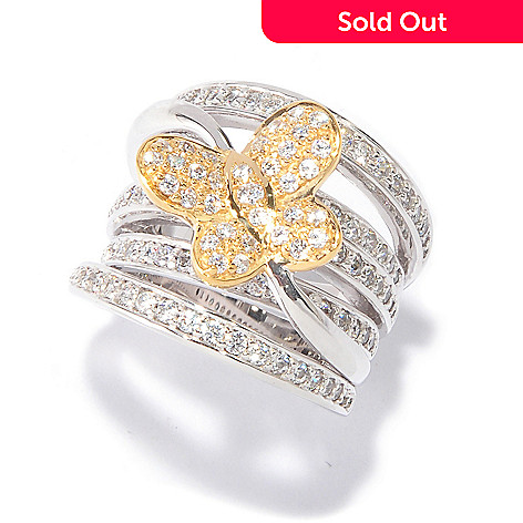 115-685 - Sonia Bitton for Brilliante® Sterling Silver & Gold Embraced Wide Butterfly Ring