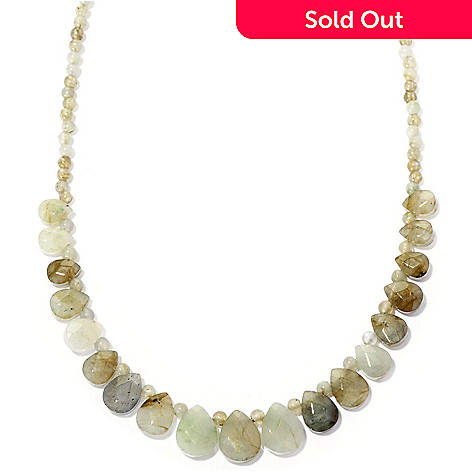 115-760 - Gem Insider® Sterling Silver 18'' Faceted Gemstone Bead Necklace