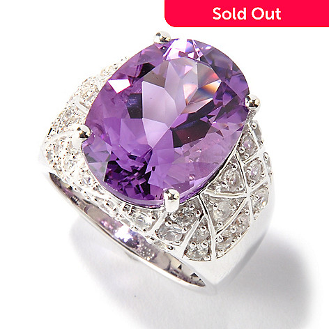 115-947 - Gem Insider™ Sterling Silver 7.80ctw Amethyst & White Sapphire Ring
