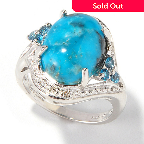 115-966 - Gem Insider Sterling Silver Stabilized Turquoise, London Blue Topaz & Diamond Oval Ring