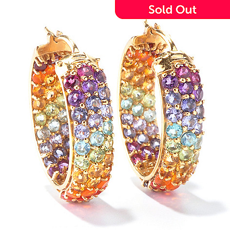 116-035 - NYC II™ Exotic Rainbow Multi Gemstone 1'' Inside-Out Hoop Earrings