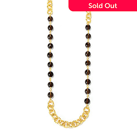 116-107 - Toscana Italiana Gold Embraced™ 44'' Smoky Quartz Martellato Necklace