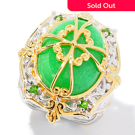 116-125 - Gems en Vogue II Green Jade & Chrome Diopside Ring