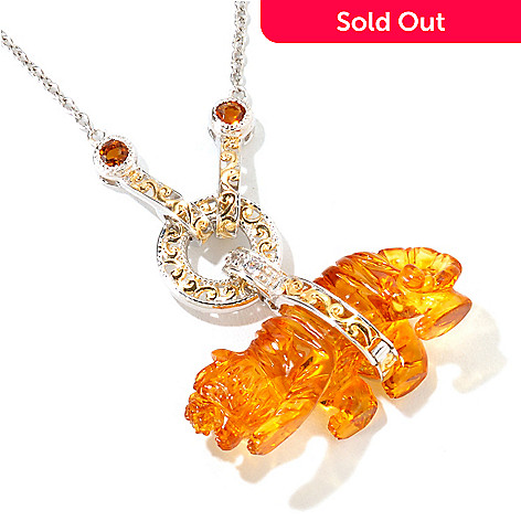 116-133 - Gems en Vogue Carved Amber Tiger, Citrine & White Sapphire Pendant w/ Chain