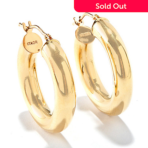 116-244 - Viale18K® Italian Gold Polished Hinged Snap Back Hoop Earrings